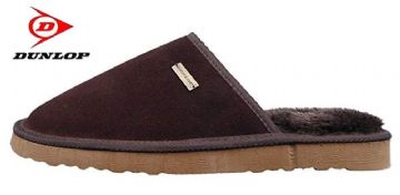Men's DUNLOP Suede Leather Mule Slippers BROWN